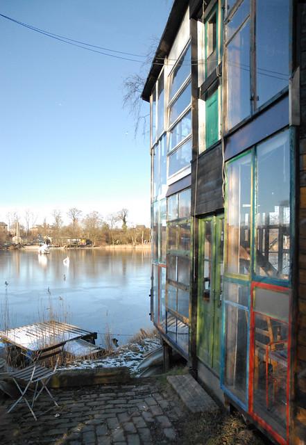 Glass House on riverbank, Christiania