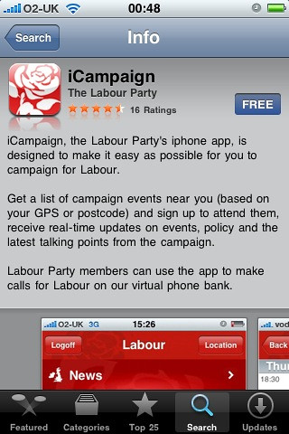 Labour iPhone app
