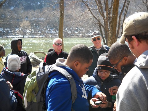 St. Ignatius students on a GPS scavenger hunt in Harpers Ferry NHP