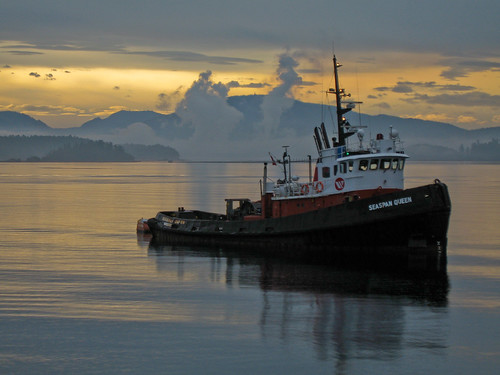 ocean sunset reflection sunrise work boat queen tugboat tug tow seaspan
