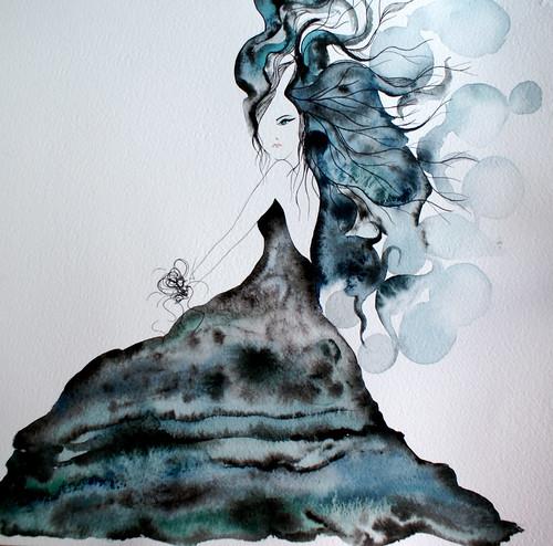 Fashion Illustration:Mysterious girl