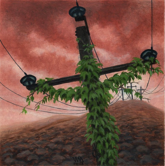 Electric Golgotha, painting by Jean-Marc Dauvergne