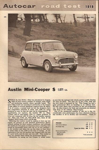 Austin Mini Cooper S Road Test 1963 (1)