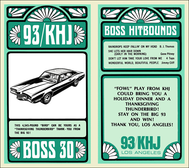 1969 Nov 12 - Issue #228 - KHJ's giving away a land yacht in the Thanksgiving Thunderbird promotion.