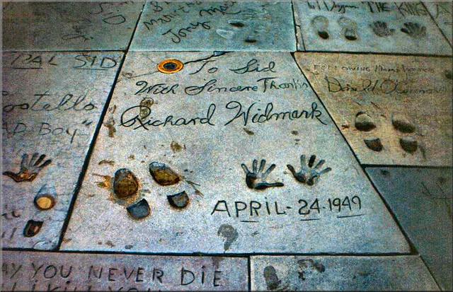 USA Los Angeles Actor Richard Widmark hands and foot prints at Grauman's Chinese Theatre by Anne MacKay