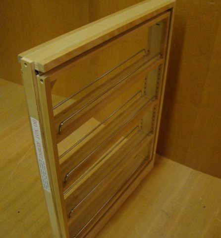 Kraftmaid kitchen pull out 3 base spice rack filler - Base cabinet pull out spice rack ...