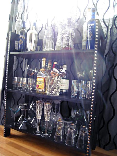 diy studded mini bar home mini bar booze display diy bookshelves to bar flickr photo sharing. Black Bedroom Furniture Sets. Home Design Ideas
