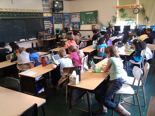 2:1 XO laptops in my 3rd grade classroom today. Just a wee bit exciting! #olpc
