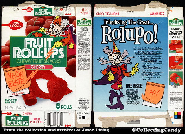 General Mills - Betty Crocker - Fruit Roll-Ups - Cherry - Introducing Rolupo - Neon Slate - 4oz Fruit Snacks box - 1989