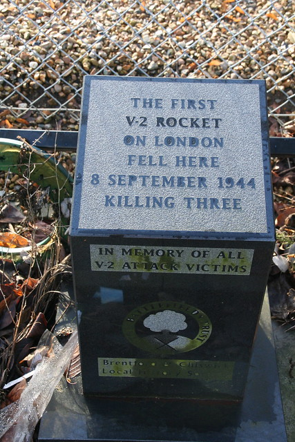 Black plaque № 5022 - The first V-2 rocket on London fell here 8 September 1944 killing three In memory of all V-2 attack victims