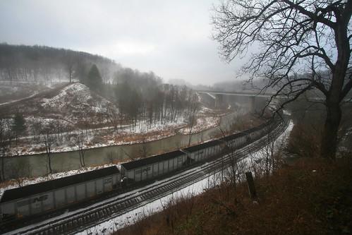travel trees snow nature water fog train river pennsylvania tracks southfork johnstownflood southforkdam