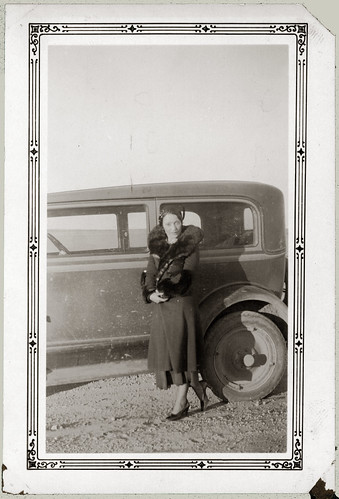 Woman in Fur with Car