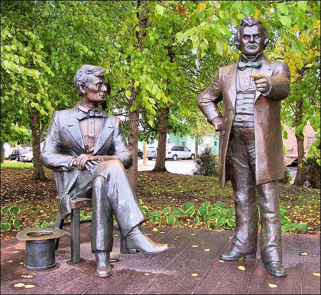Lincoln Douglas Debate Statues Freeport Illinois