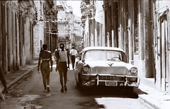 Old Havana Ciudad de la Habana Cuba Classic American Car Sepia Oct 1998 010 delightful local ladies.