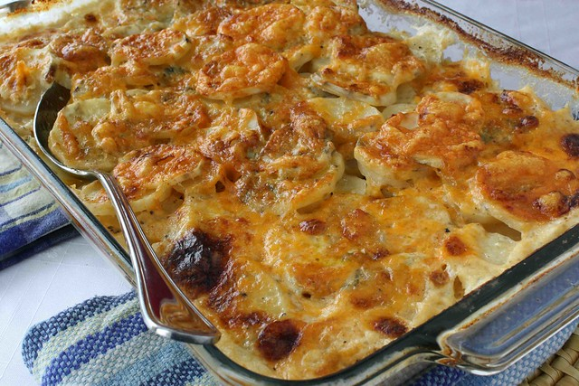 Scalloped Potatoes Recipe with Gorgonzola, Parmesan & Cheddar Cheeses ...