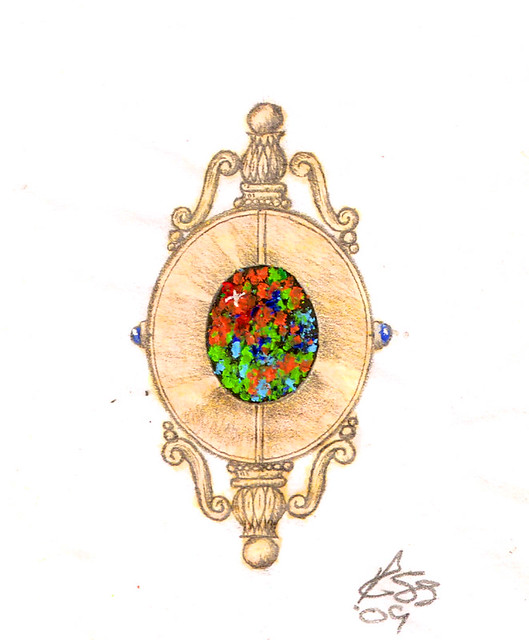 Design Sketch / Rendering for Black Opal Necklace / 4