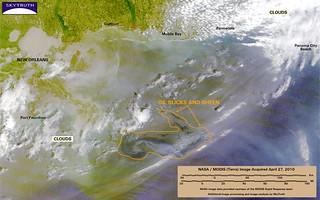 Deepwater Horizon Oil Spill – MODIS/Terra Detail (with interpretation), April 27, 2010 – Enhanced