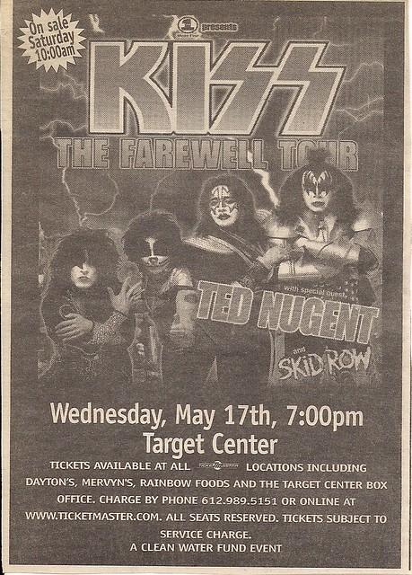 05/17/00 Kiss/Ted Nugent/Skid Row @ Minneapolis, MN (Ad)