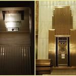 Skyscraper motif mailbox/elevator indicator & matching chandelier