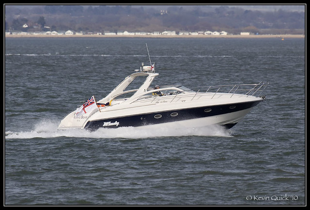Windy 40 Bora motor boat off Cowes, Isle of Wight, UK