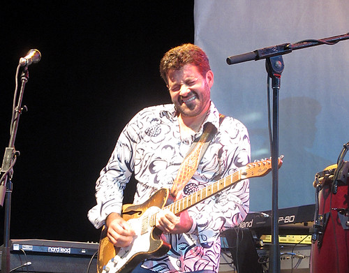Tab Benoit wails with Voice of the Wetlands at Gulf Aid, May 2010.  Photo by Jennifer Leslie.