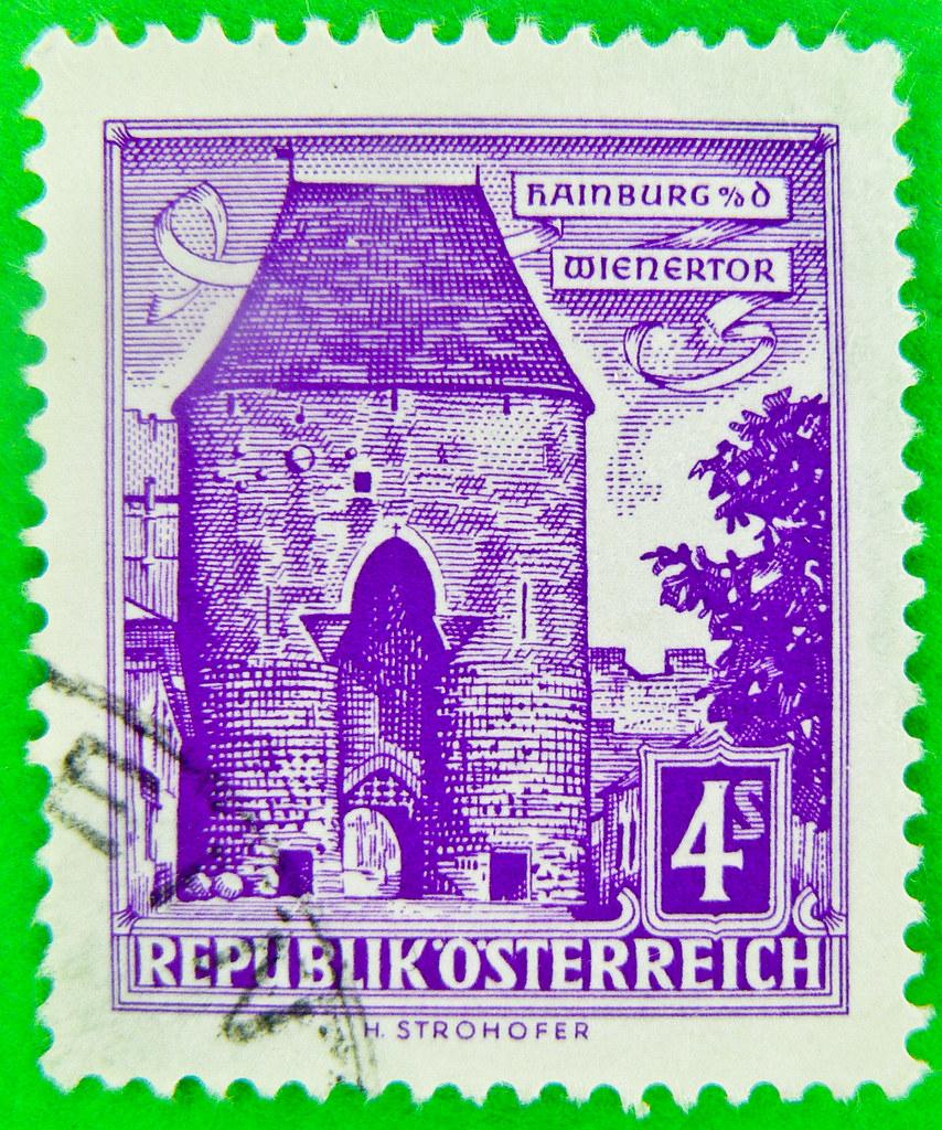 Great Stamp Austria 400 Schilling Hainburg Poste Timbres Autriche Donau Wienertor Vienna Gate