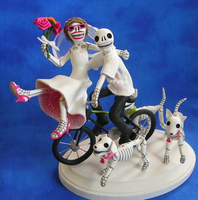 day of the dead wedding cake topper bicycle getaway a photo on