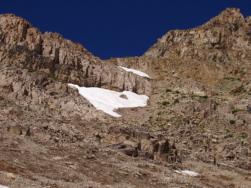 Looking up at the Timpanogos saddle from Timp Basin.