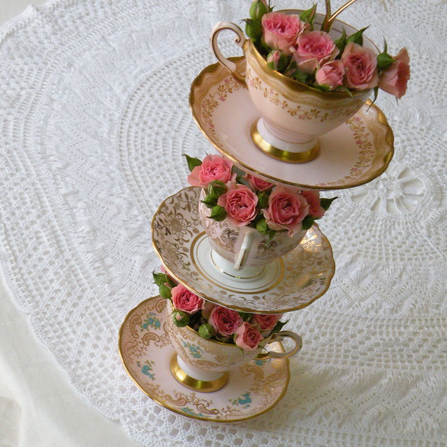 Flower tower diy floral centerpiece of vintage china