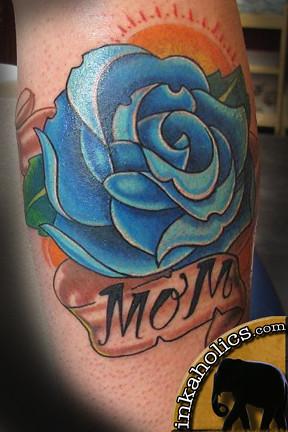 texas design blue rose tattoos at foot. Black Bedroom Furniture Sets. Home Design Ideas