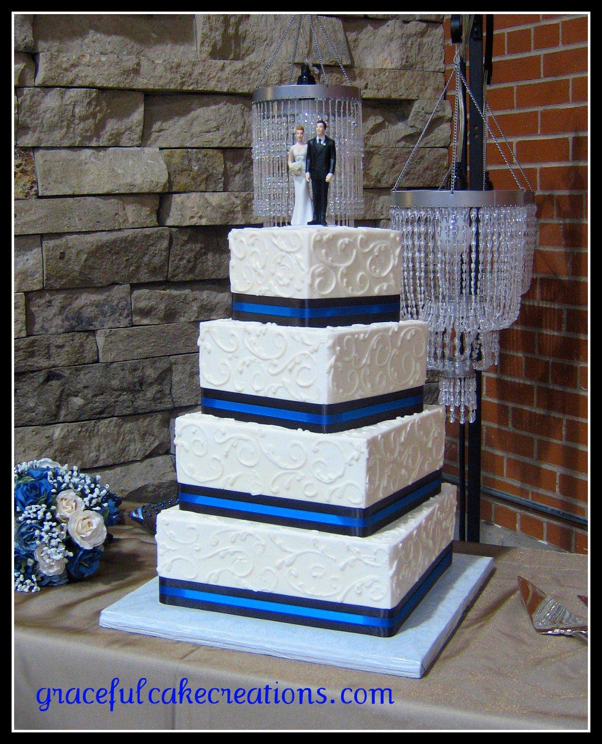 Blue and White Square Wedding Cake