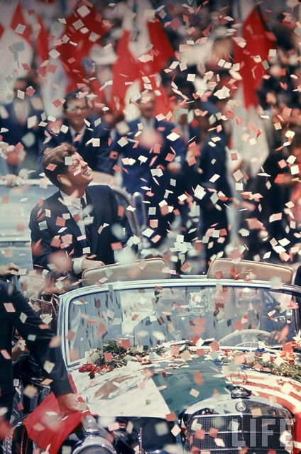 US President John F. Kennedy receiving a ticker tape parade during a state visit to Mexico. Jul 1962