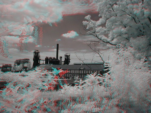 Carrie Furnace 25July2004 3D Anaglyph by digital infrared by John Fobes