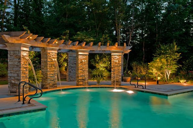 Pool pergola lighting flickr photo sharing for Garden pool lights
