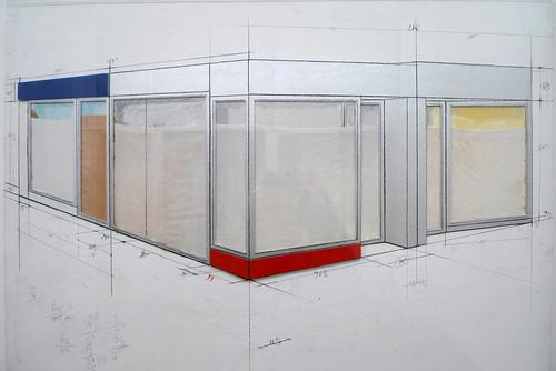 christo corridor store front 1967 et dessin de projet 1964 1965 le journal des vitrines. Black Bedroom Furniture Sets. Home Design Ideas