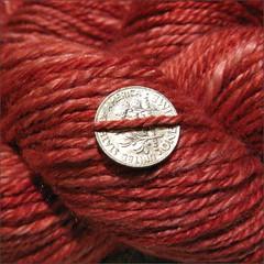 Ruby Merino-Silk yarn, close up
