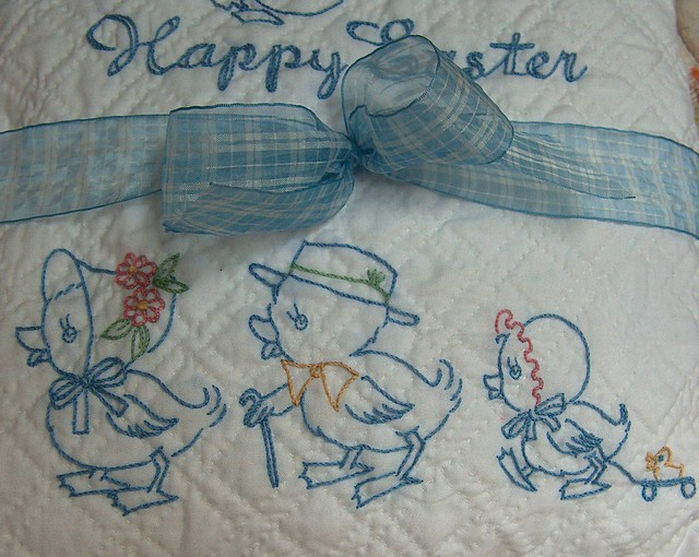 Easter pillow i used vintage embroidery patterns