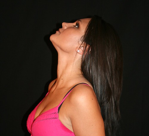 Model Looking Up and Stretching her Neck