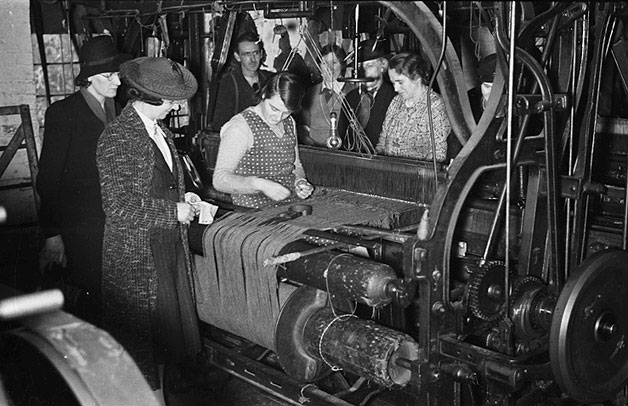 Tweed making at the Leach family woollen mill at Mochdre
