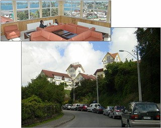 Hotel Colonos del Sur Mirador, Puerto Varas and the view from its lounge.