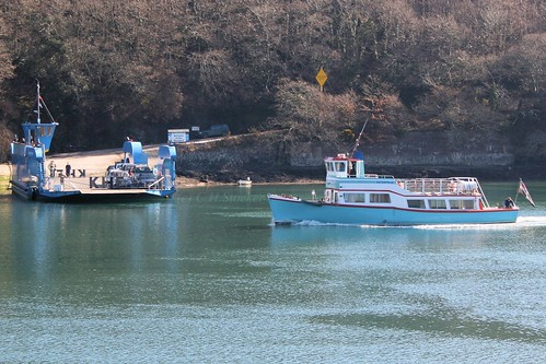 The King Harry Ferry and the Enterprise boat cross paths on the River Fal by Stocker Images