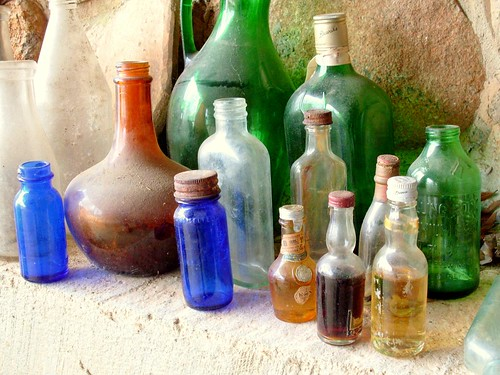blue light shadow brown color green texture glass stone rust bottles antique dirt alignment rollingrock