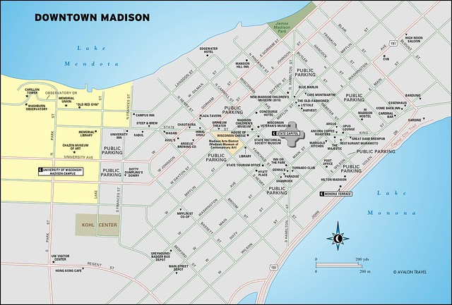 Downtown Madison Travel Map From Moon Milwaukee And