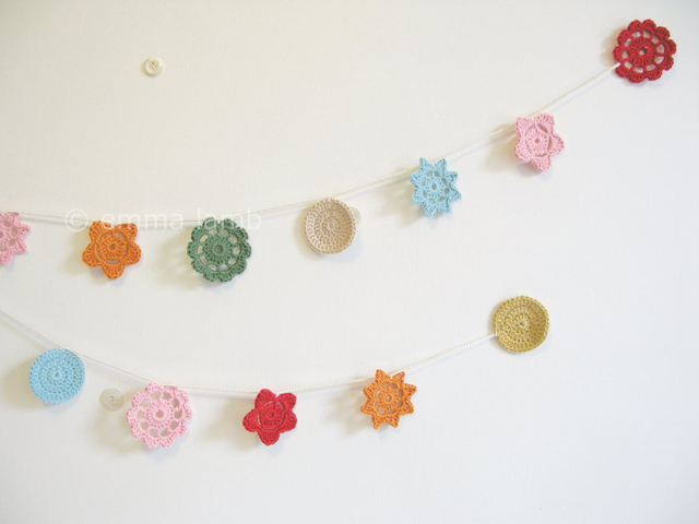 Miss Sylvie, hand crochet Forever Flower Garland by Emma Lamb