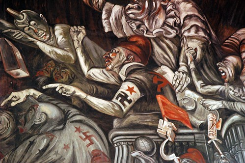 The Clowns of War Arguing in Hell, war mongers with their political agendas and logos, José Clemente Orozco Mural, Governor's Palace, (Palacio de Gobierno built in 1774), Guadalajara, Jalisco, Mexico by Wonderlane