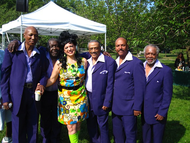 BBG Director of Public Programs Anita Jacobs with The Persuasions. Photo by Rebecca Bullene.