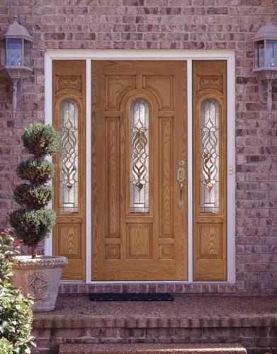 Feather river door fiberglass entry doors light oak door sidelites flickr photo sharing - Home depot feather river door ...