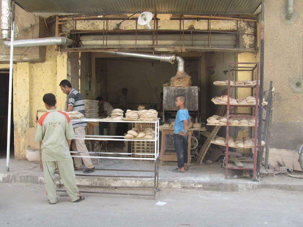 Pita bread shop in Giza
