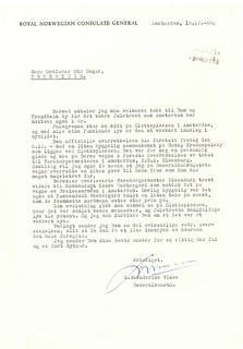 Brev fra generalkonsul Warnderink Vinke (1968)