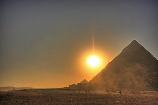 A Dusty Sunset at the Pyramids